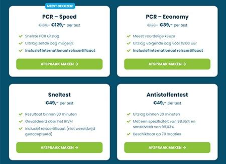 Kosten Sneltest en PCR-test met COVID reiscertificaat
